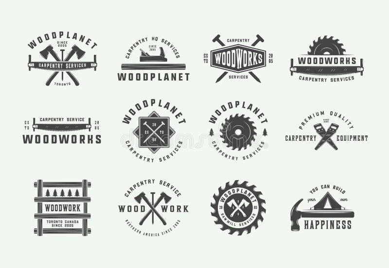 Σύνολο εκλεκτής ποιότητας ξυλουργικής, ξυλουργικής και μηχανικών ετικετών, διακριτικών, εμβλημάτων και λογότυπου επίσης corel σύρ διανυσματική απεικόνιση