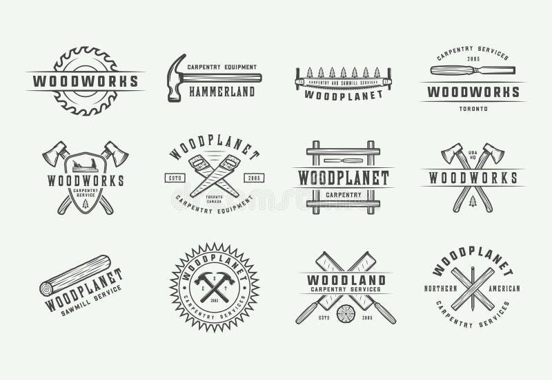 Σύνολο εκλεκτής ποιότητας ξυλουργικής, ξυλουργικής και μηχανικών ετικετών, διακριτικών, εμβλημάτων και λογότυπου επίσης corel σύρ ελεύθερη απεικόνιση δικαιώματος