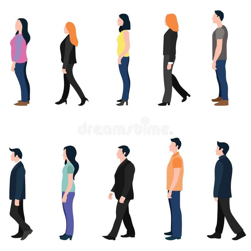 Σύνολο επίπεδου σχεδίου πλάγιας όψης ανθρώπων περπατήματος στοκ εικόνα