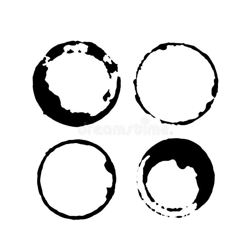 Σύνολο λεκέδων καφέ ή τσαγιού Παφλασμοί των φλυτζανιών και των κουπών ελεύθερη απεικόνιση δικαιώματος