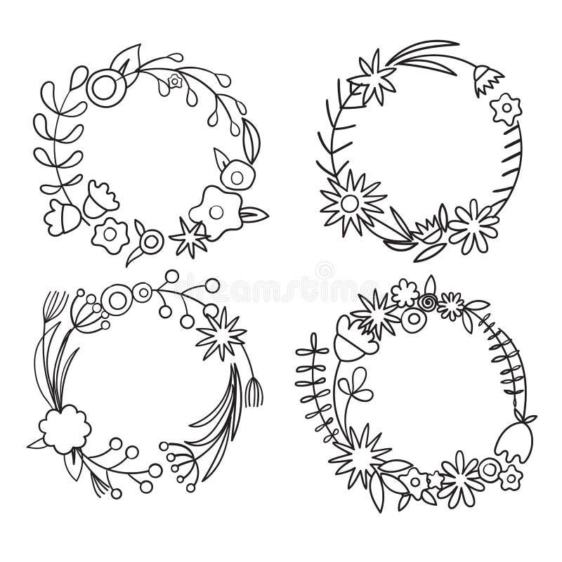 Σύνολο μαύρων άσπρων διανυσματικών στεφανιών λουλουδιών Δέσμες των πετάλων, οφθαλμοί, κλάδοι, μίσχος σαν χρώματος σχεδίου vectori διανυσματική απεικόνιση