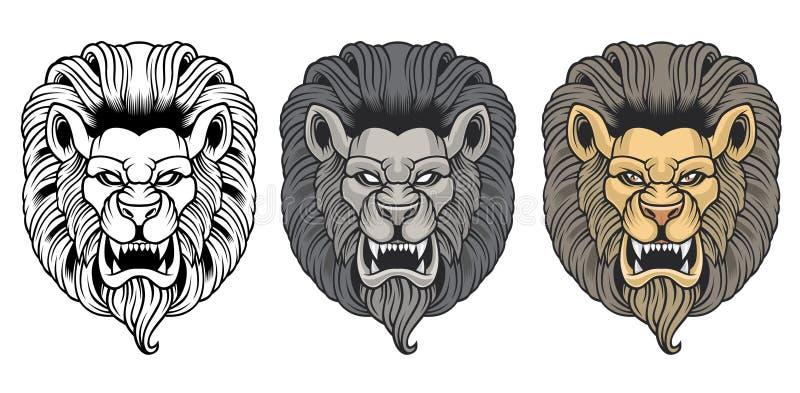 Σύνολο ?ν κεφαλιώνων λιονταριών ελεύθερη απεικόνιση δικαιώματος