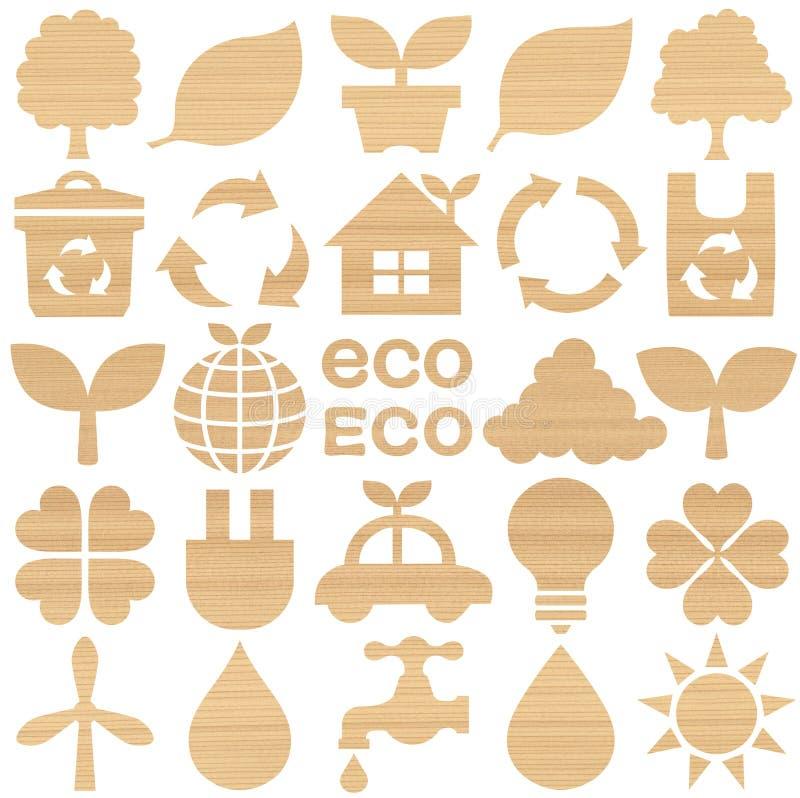 Σύνολο ξύλινων εικονιδίων eco διανυσματική απεικόνιση