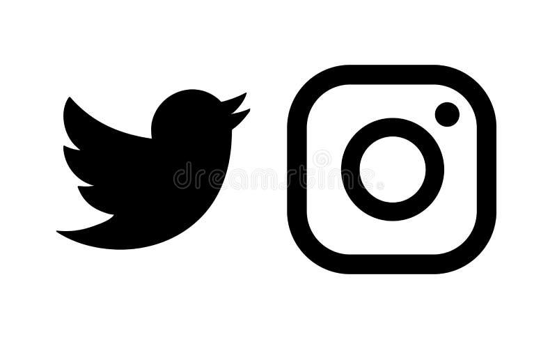 Σύνολο δημοφιλών κοινωνικών λογότυπων μέσων, εικονίδια μαύρο Instagram, πειραχτήρι, ελεύθερη απεικόνιση δικαιώματος