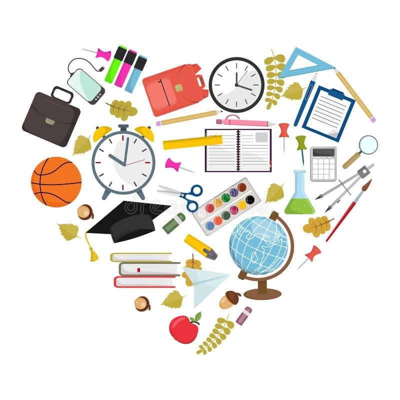 Σύνολο διαμορφωμένης καρδιά απεικόνισης σχολικών προμηθειών ελεύθερη απεικόνιση δικαιώματος