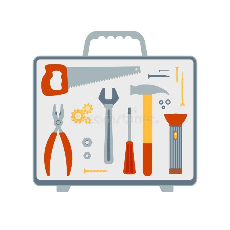 Σύνολο διανυσματικών επίπεδων εικονιδίων στο θέμα των εργαλείων επισκευής και οικοδόμησης διανυσματική απεικόνιση