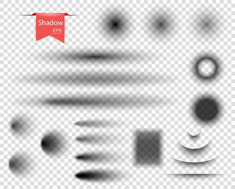 Σύνολο διανυσματικών στρογγυλών, ωοειδών, ορθογώνιων κυρτών σκιών με τις μαλακές μονωμένες άκρες διάνυσμα εικόνας απεικόνισης στο ελεύθερη απεικόνιση δικαιώματος
