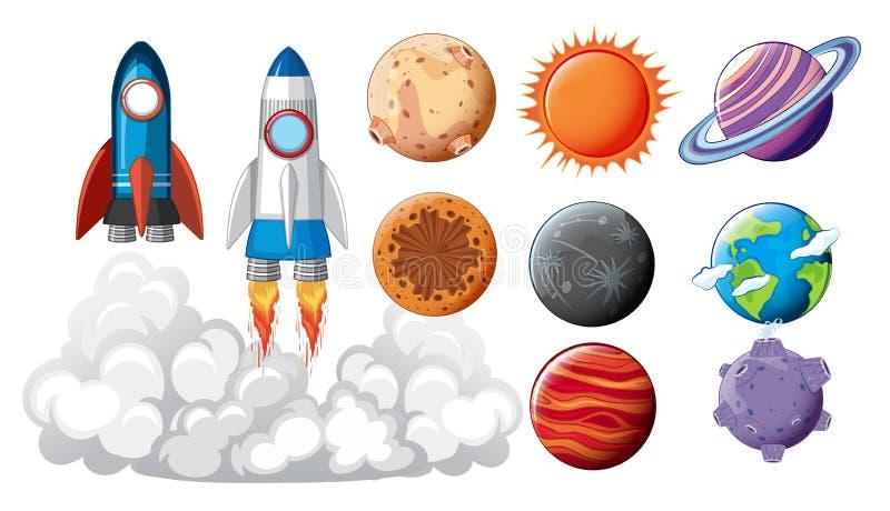 Σύνολο διαστημικής έννοιας αντικειμένων απεικόνιση αποθεμάτων