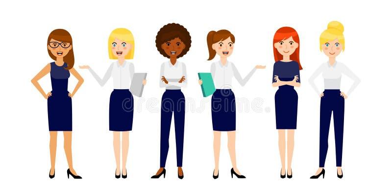 Σύνολο διαφορετικής χαμογελώντας επιχειρησιακής έξι γυναίκας διανυσματική απεικόνιση