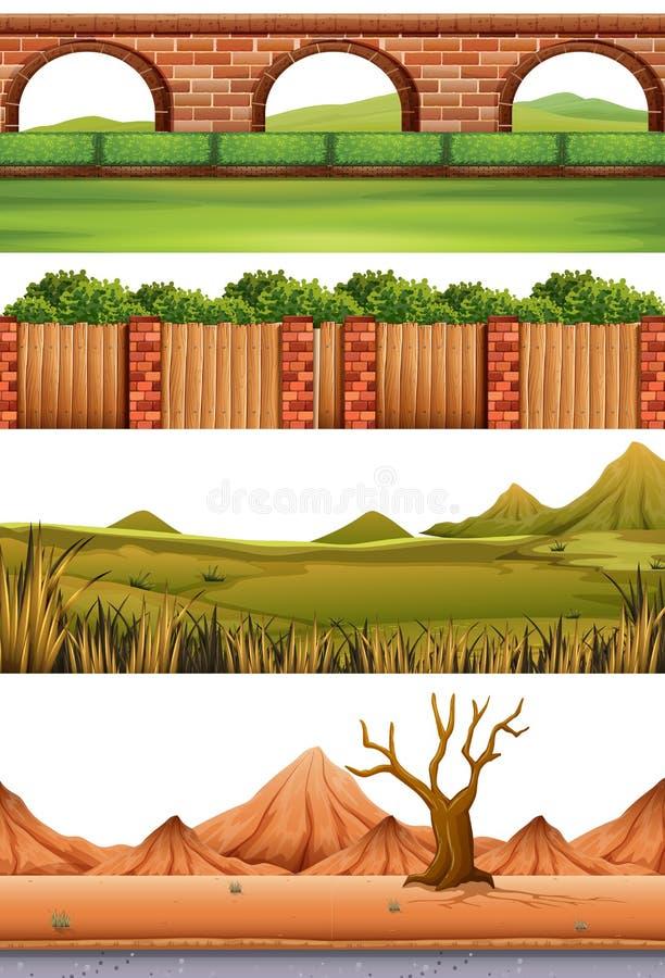 Σύνολο διαφορετικών σκηνών διανυσματική απεικόνιση