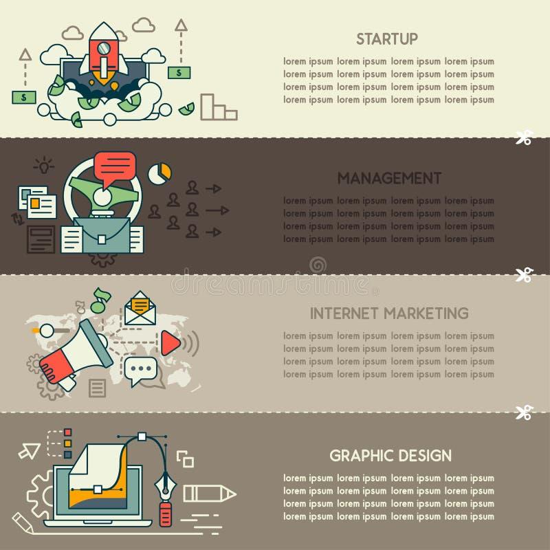 Σύνολο δύο εμβλημάτων τεχνολογίας και επιχειρήσεων Διαδικτύου απεικόνιση αποθεμάτων