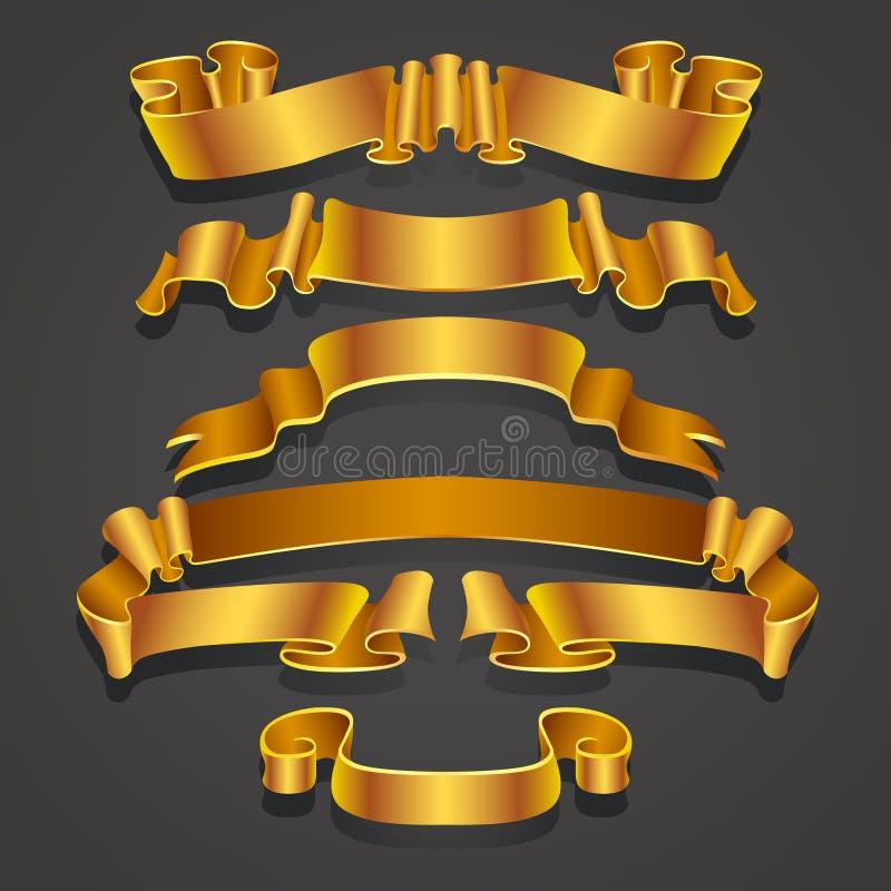 Σύνολο ρεαλιστικών κίτρινων και χρυσών κορδελλών Στοιχείο για τα δώρα διακοσμήσεων, χαιρετισμοί, διακοπές, σχέδιο ημέρας βαλεντίν ελεύθερη απεικόνιση δικαιώματος