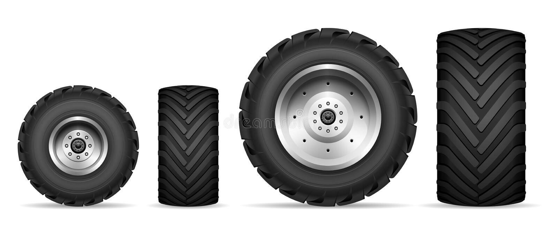 Σύνολο ροδών φορτηγών και τρακτέρ απεικόνιση αποθεμάτων