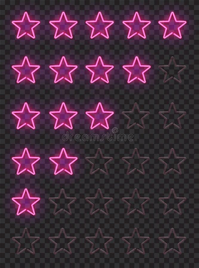 Σύνολο ρόδινων αστεριών νέου που εκτιμούν τα στοιχεία σχεδίου που απομονώνονται στο σκοτεινό τουβλότοιχο Διανυσματική εξάρτηση τω διανυσματική απεικόνιση