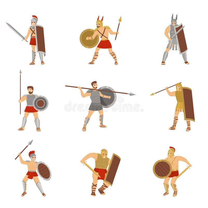 Σύνολο ρωμαϊκής πάλης πολεμιστών με τα διαφορετικά όπλα που απομονώνεται στο άσπρο υπόβαθρο ελεύθερη απεικόνιση δικαιώματος