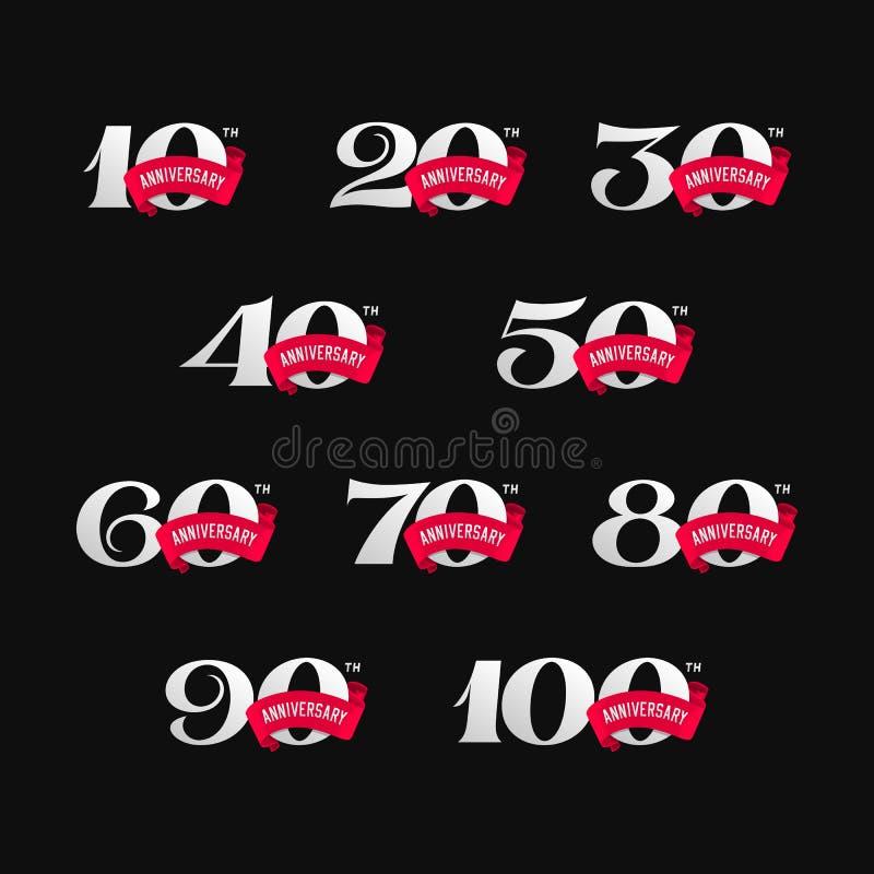 Σύνολο σημαδιών επετείου από 10 έως 100 Αριθμοί με τις κορδέλλες στο μαύρο υπόβαθρο ελεύθερη απεικόνιση δικαιώματος