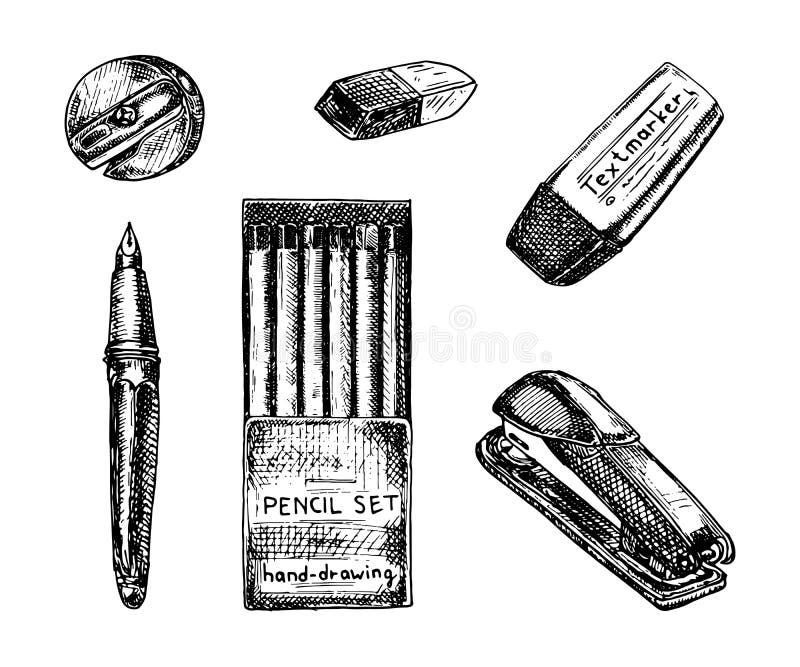 Σύνολο σχεδίων χαρτικών Συρμένη χέρι διανυσματική απεικόνιση Ξύστρα για μολύβια, μολύβια, στυλός, γόμα, textmarker και stapler do ελεύθερη απεικόνιση δικαιώματος