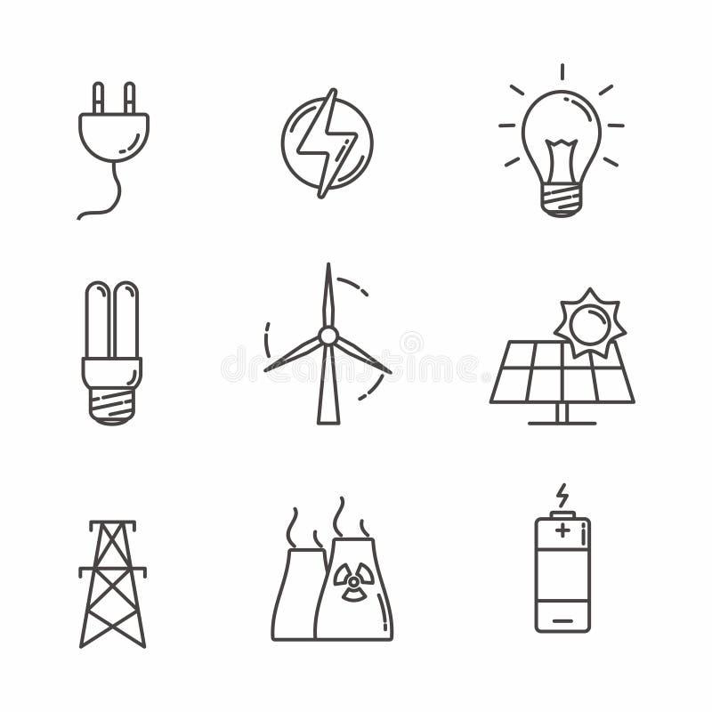 Σύνολο σχετικού με την ηλεκτρική ενέργεια σχεδίου γραμμών εικονιδίων απεικόνιση αποθεμάτων