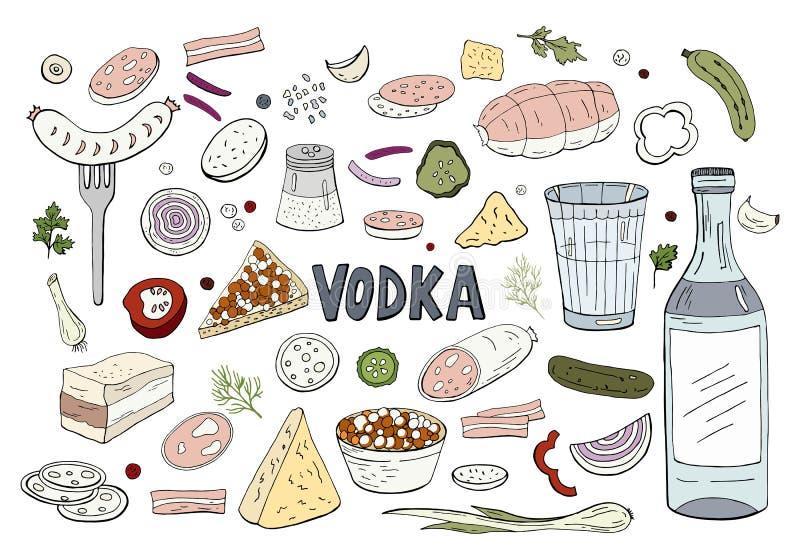 Σύνολο συρμένης χέρι ρωσικής βότκας και διαφορετικών τροφίμων που απομονώνονται στο άσπρο υπόβαθρο διανυσματική απεικόνιση