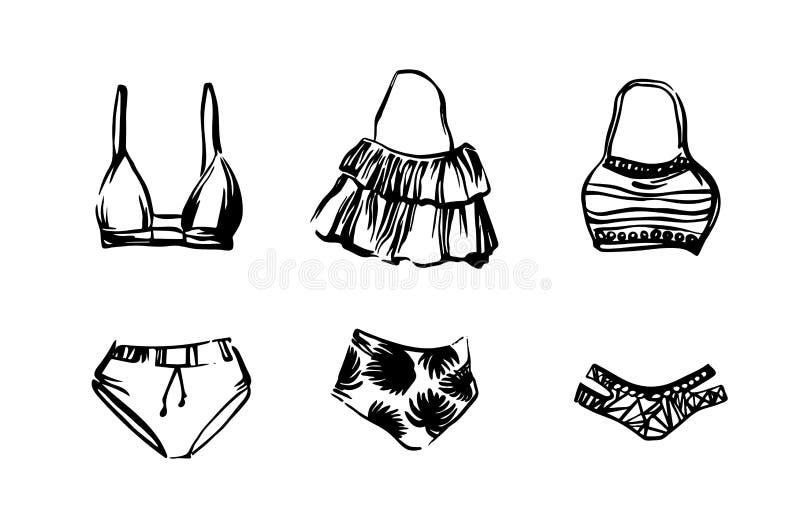Σύνολο συρμένου χέρι swimwear μπικινιού Διανυσματική απομονωμένη ο Μαύρος απεικόνιση σκίτσων στο άσπρο υπόβαθρο Beachwear για τις διανυσματική απεικόνιση