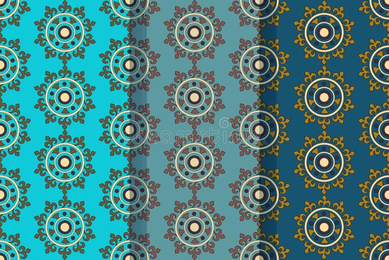 Σύνολο τριών άνευ ραφής σχεδίων με τα αφηρημένα floral στοιχεία στο αναδρομικό ύφος Υφαντικό ύφασμα, εκτύπωση και πολλές άλλες πε στοκ φωτογραφία