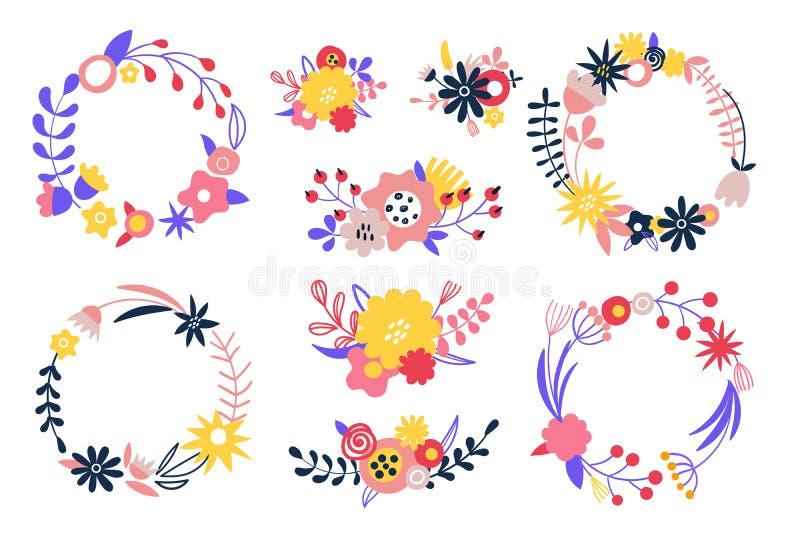 Σύνολο φωτεινών διανυσματικών στεφανιών λουλουδιών Δέσμες των πετάλων, οφθαλμοί, κλάδοι, μίσχος διανυσματική απεικόνιση