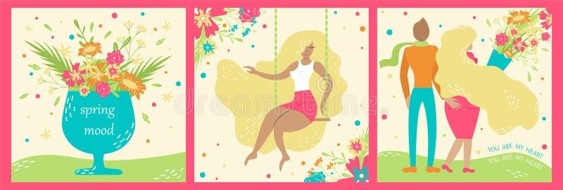 Σύνολο hand-drawn καρτών άνοιξη Άνοιξη Ξανθό κορίτσι διανυσματική απεικόνιση