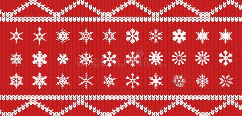 Σύνολο snowlakes στην πλεκτή σύσταση του κόκκινου χρώματος με ένα άσπρο σχέδιο στη μορφή διανυσματική απεικόνιση