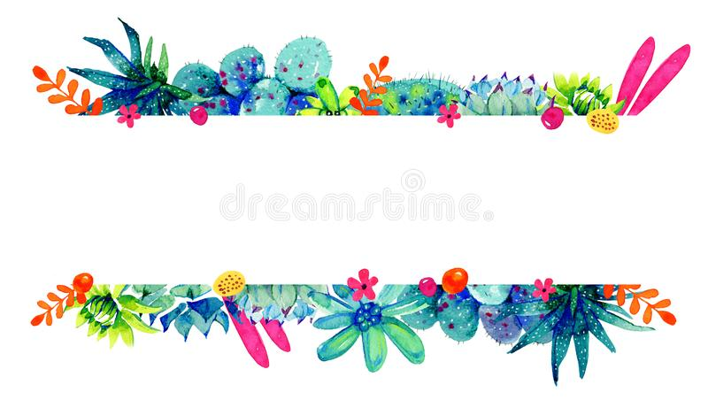 Σύνορα πλαισίων με τα λουλούδια, κάκτοι και succulents στην κορυφή και το κατώτατο σημείο Συρμένη απεικόνιση σκίτσων χρώματος Wat ελεύθερη απεικόνιση δικαιώματος