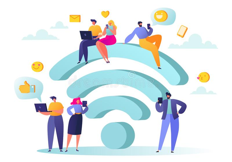 Σύνδεση WI-Fi Οι άνθρωποι σύλλεξαν κοντά σε ένα μεγάλο σύμβολο WI-Fi ελεύθερη απεικόνιση δικαιώματος