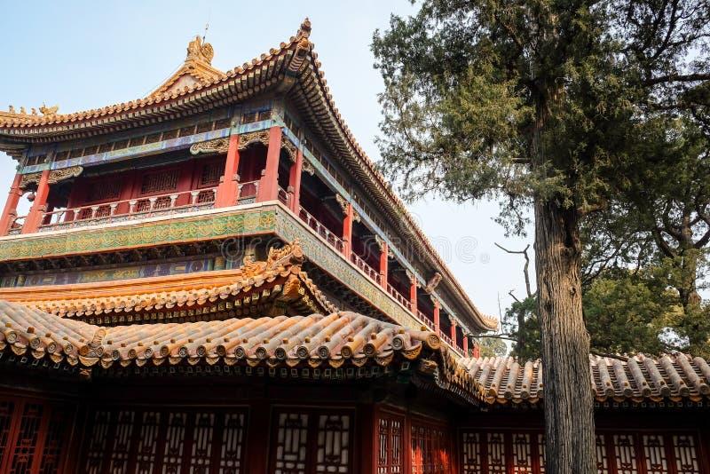 Στέγες παγοδών στην απαγορευμένη πόλη, Πεκίνο Κίνα στοκ εικόνες