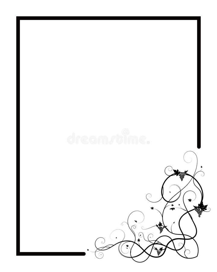Σταφύλια που υφαίνουν τον μπλεγμένο Μαύρο εγκαταστάσεων στο λευκό ελεύθερη απεικόνιση δικαιώματος