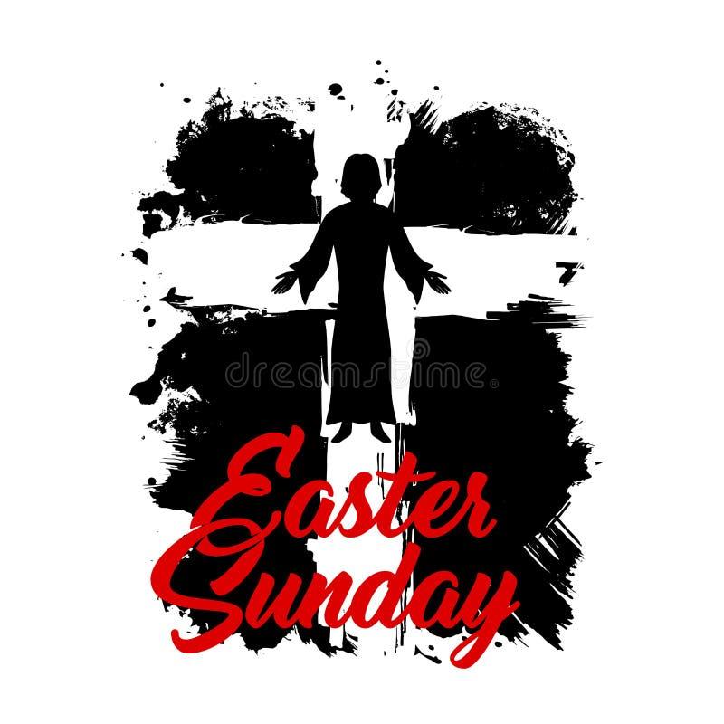 Σταυρός της απεικόνισης της Κυριακής του Ιησούς Χριστού Πάσχα ελεύθερη απεικόνιση δικαιώματος