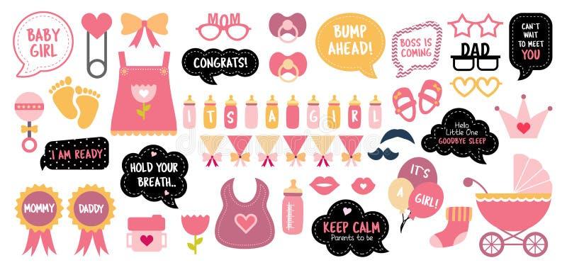Στηρίγματα θαλάμων φωτογραφιών ντους μωρών photobooth καθορισμένα απεικόνιση αποθεμάτων