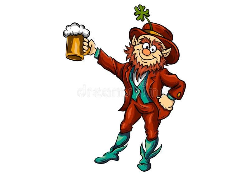 Στοιχειό που αυξάνει μια κούπα της απεικόνισης μπύρας διανυσματική απεικόνιση