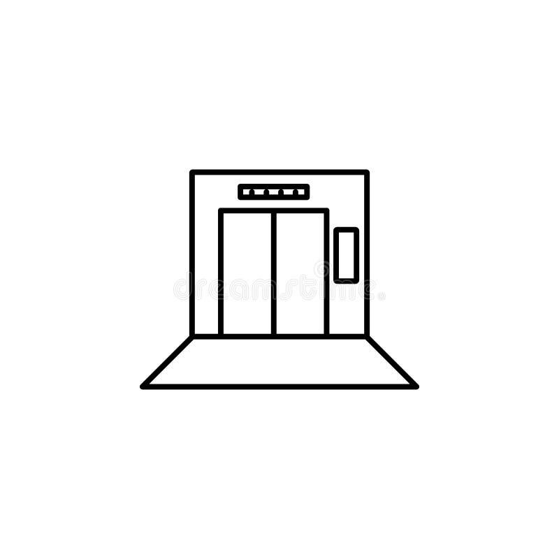 στον ανελκυστήρα, κενό εικονίδιο Στοιχείο της κατάστασης στο εικονίδιο ανελκυστήρων Γραφικό εικονίδιο σχεδίου εξαιρετικής ποιότητ απεικόνιση αποθεμάτων