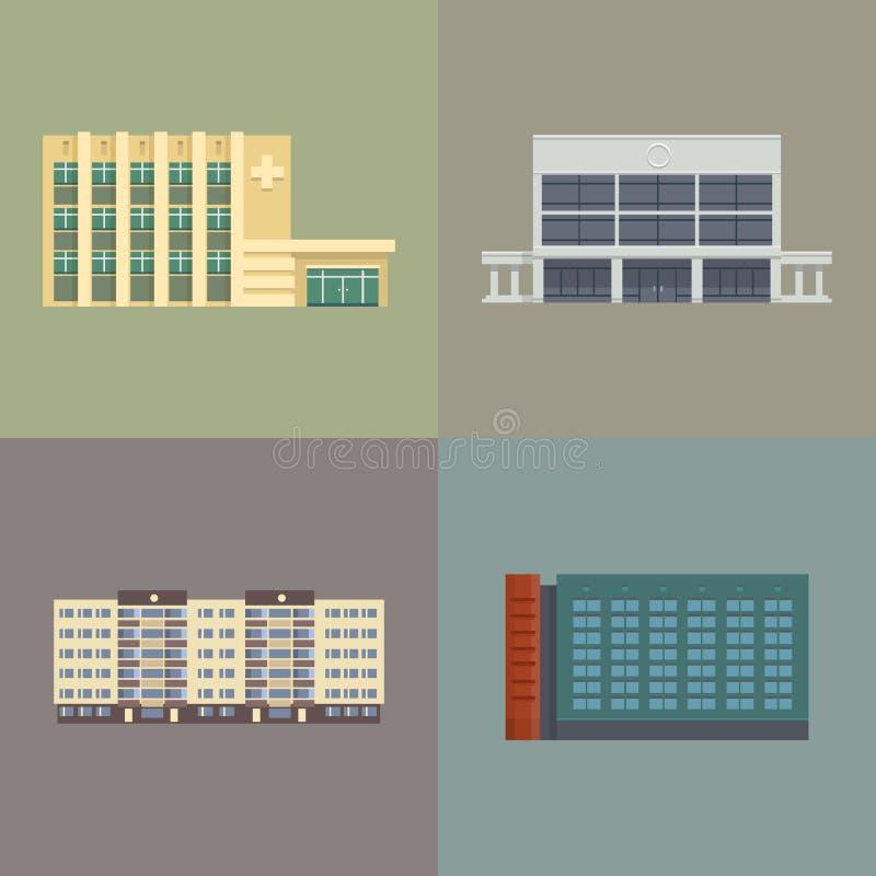 Στο κέντρο της πόλης κτήρια πόλεων απεικόνιση αποθεμάτων