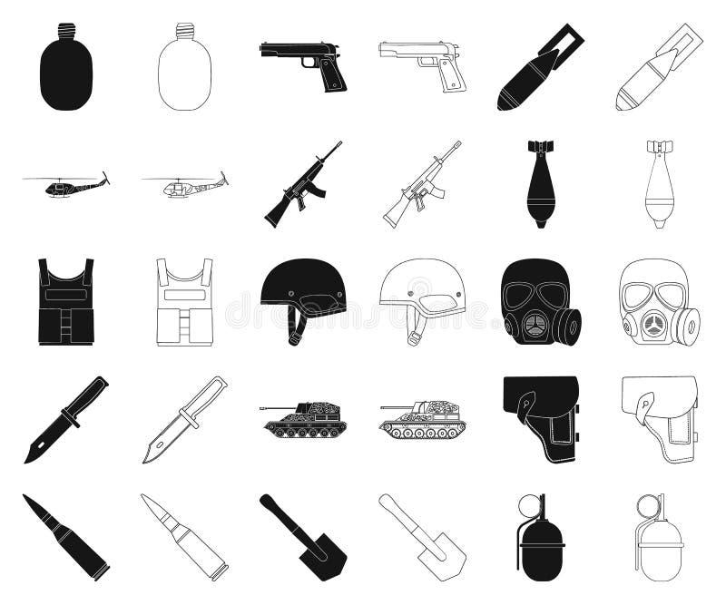 Στρατός και ο Μαύρος εξοπλισμών, εικονίδια περιλήψεων στην καθορισμένη συλλογή για το σχέδιο Όπλα και διανυσματικός Ιστός αποθεμά απεικόνιση αποθεμάτων