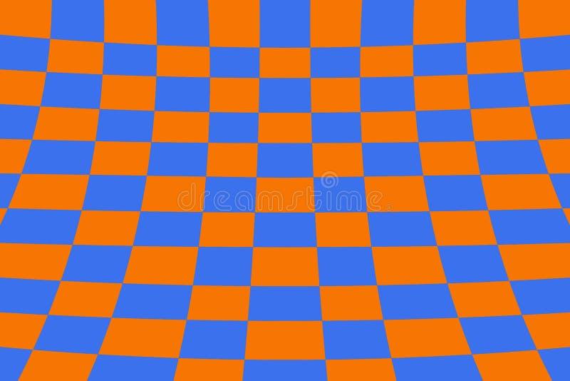Στρεβλωμένο χρωματισμένο προοπτική πορτοκάλι και μπλε πλέγματος επίδρασης πινάκων ελεγκτών ελεύθερη απεικόνιση δικαιώματος