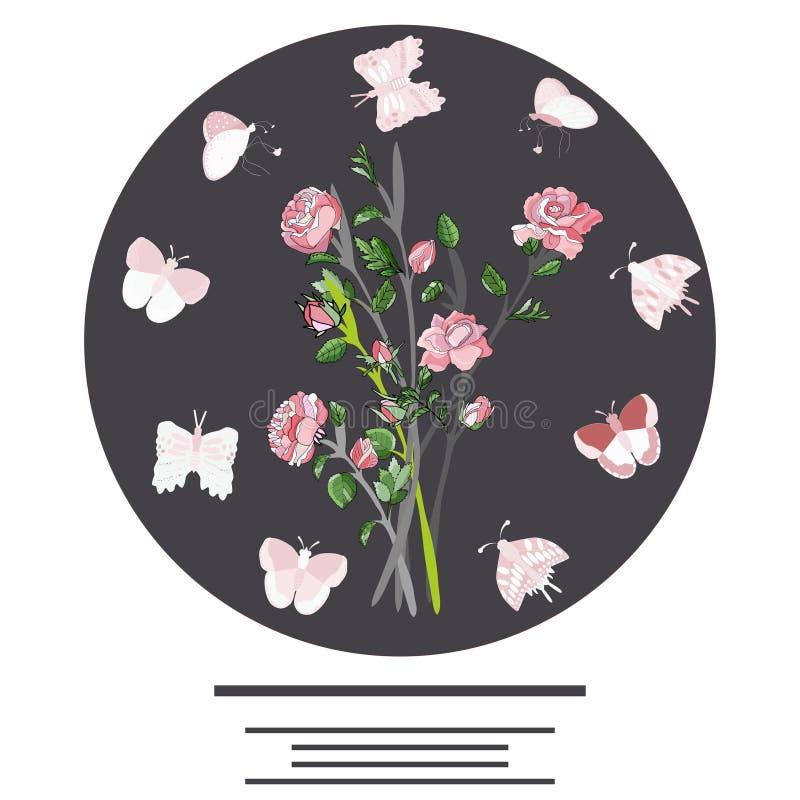 Στρογγυλή μορφή με τις πεταλούδες, τα τριαντάφυλλα και το κείμενο ελεύθερη απεικόνιση δικαιώματος