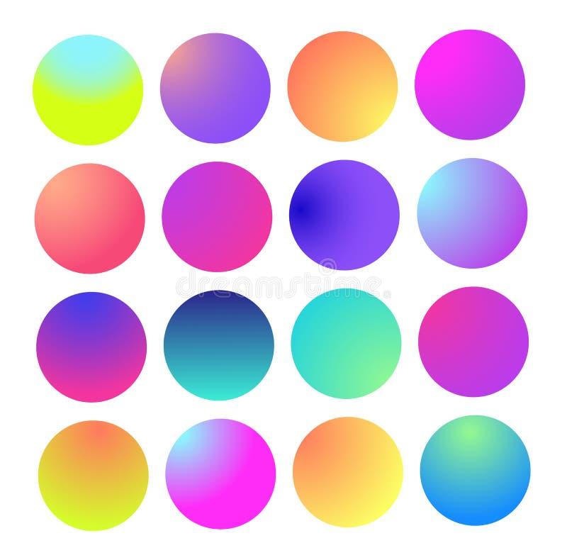 Στρογγυλευμένη ολογραφική σφαίρα κλίσης Πολύχρωμες πράσινες πορφυρές κίτρινες πορτοκαλιές ρόδινες κυανές ρευστές κλίσεις κύκλων,  διανυσματική απεικόνιση