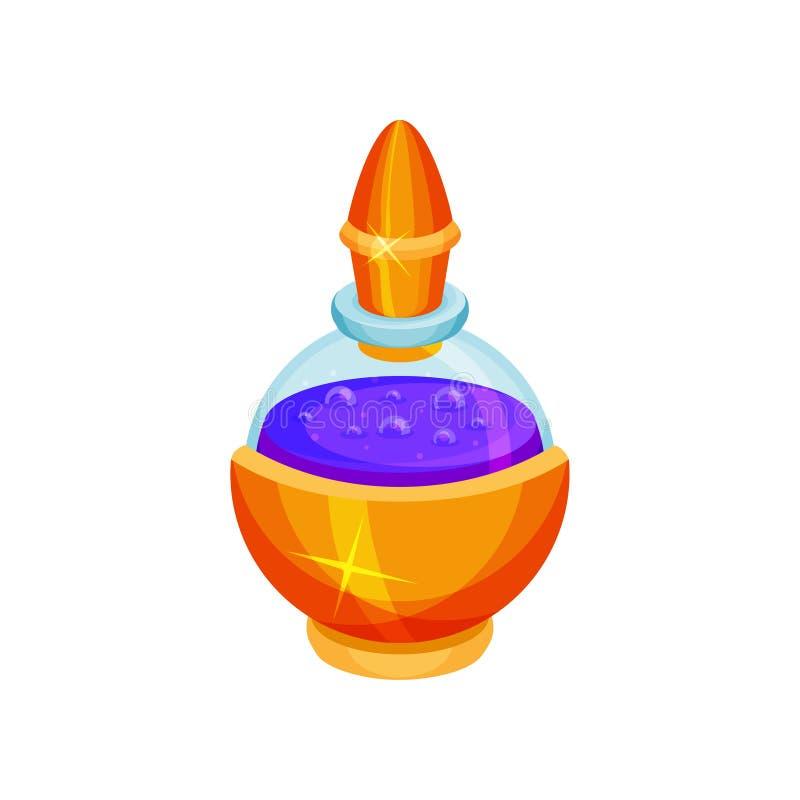 Στρογγυλό μπουκάλι γυαλιού με τη φίλτρο mana πορφυρό υγρό Μαγικό ελιξίριο Επίπεδο διάνυσμα για το κινητό παιχνίδι φαντασίας απεικόνιση αποθεμάτων