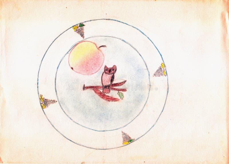 Στρογγυλό πιάτο με τη ζωγραφική της κουκουβάγιας στον κλάδο δέντρων, και μήλο σε το γιος πατέρων σχεδίων ελεύθερη απεικόνιση δικαιώματος