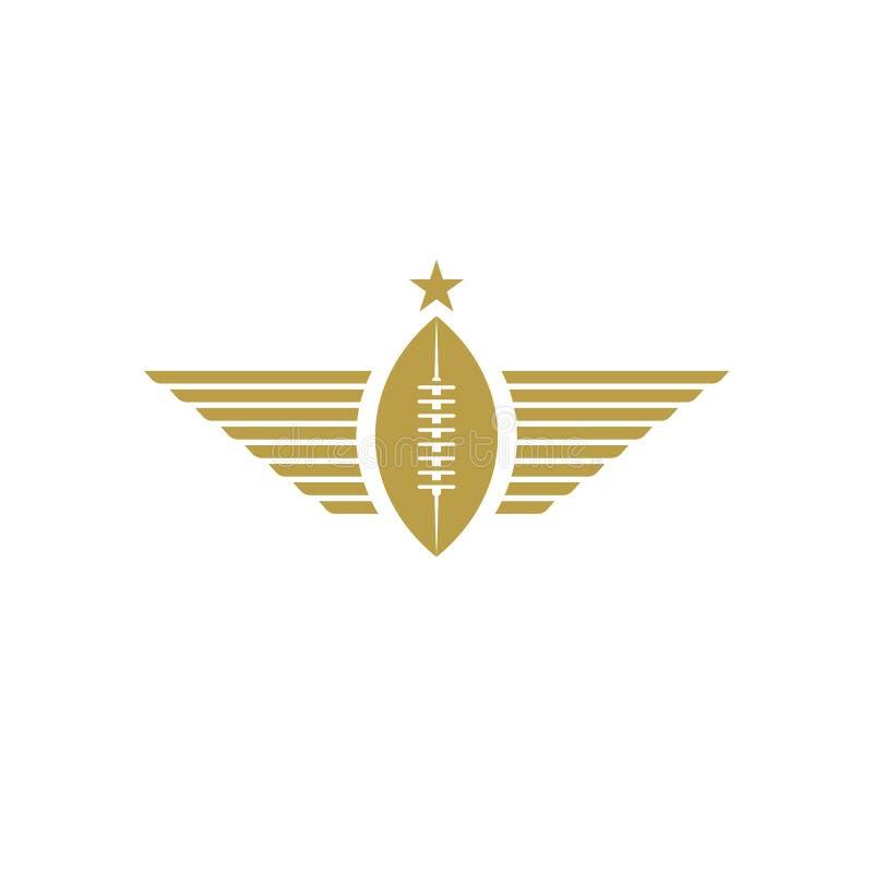 Σφαίρα ράγκμπι με το εικονίδιο φτερών, αθλητικό λογότυπο προτύπων πρωταθλημάτων αμερικανικού ποδοσφαίρου διανυσματική απεικόνιση