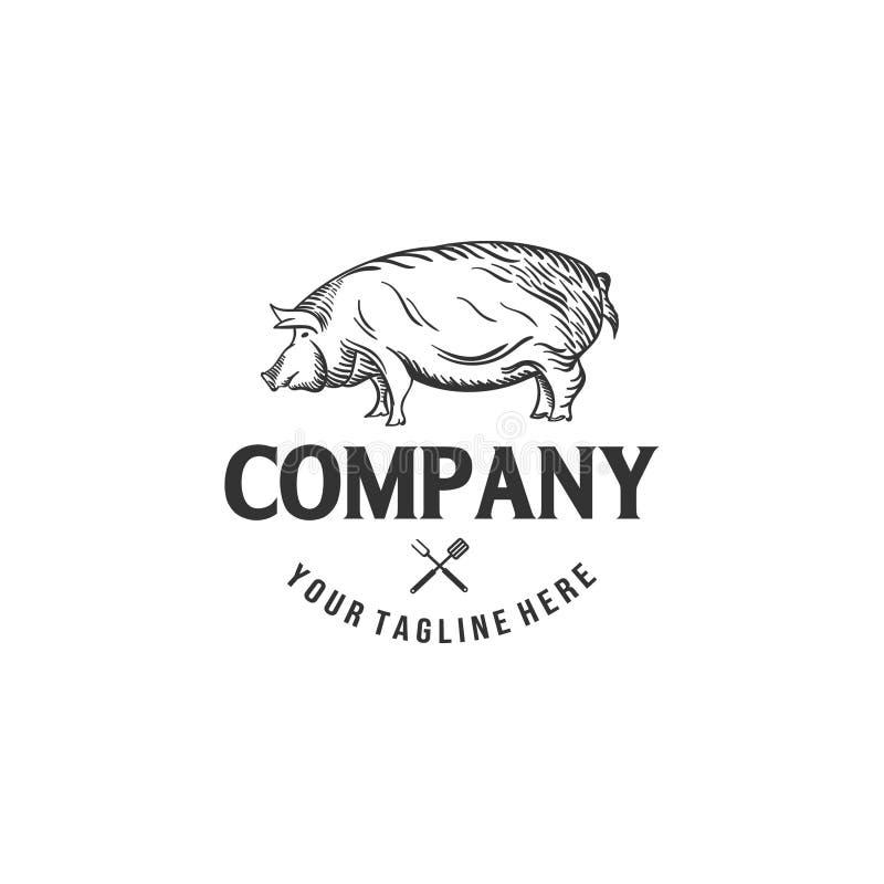 Σχέδια λογότυπων χοιρινού κρέατος για τις επιχειρήσεις κρεοπωλείων ελεύθερη απεικόνιση δικαιώματος