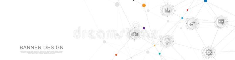 Σχέδιο επιγραφών ή εμβλημάτων ιστοχώρου με το αφηρημένο γεωμετρικό υπόβαθρο και τα συνδέοντας σημεία και τις γραμμές παγκόσμιο δί διανυσματική απεικόνιση