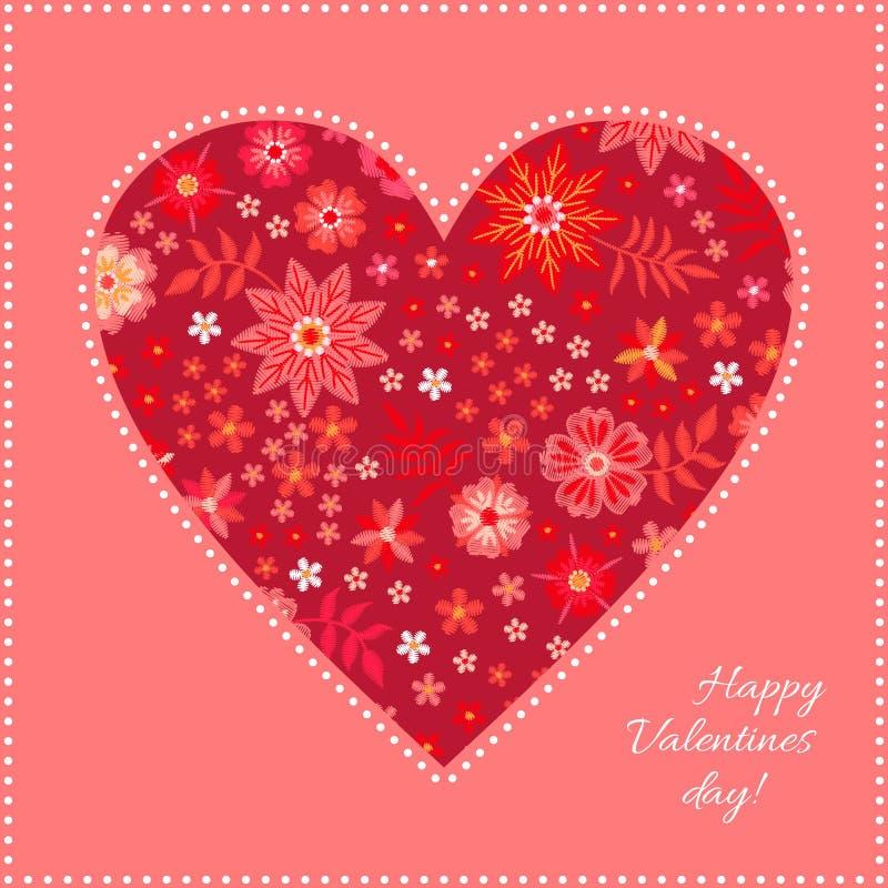 Σχέδιο καρδιών κεντητικής με τα φωτεινά κόκκινα λουλούδια Ευχετήρια κάρτα για την ημέρα βαλεντίνων επίσης corel σύρετε το διάνυσμ ελεύθερη απεικόνιση δικαιώματος