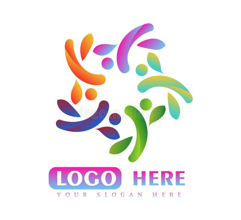 Σχέδιο λογότυπων μορφής κύκλων φύλλων ανθρώπων υγείας Προσοχή, αθλητική, ισορροπία, ενεργό λογότυπο ανθρώπων ελεύθερη απεικόνιση δικαιώματος