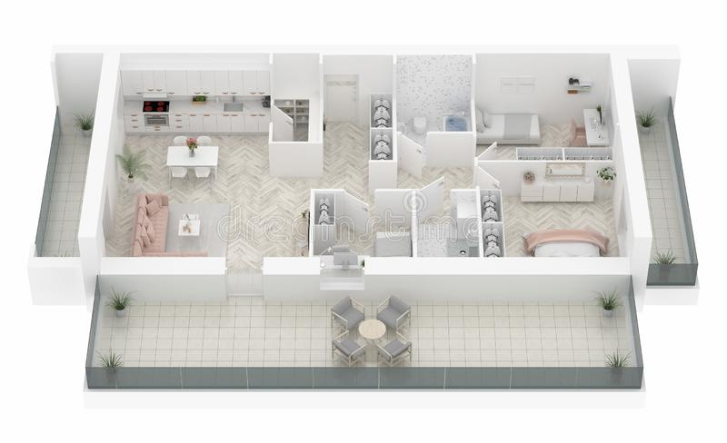 Σχέδιο ορόφων μιας εγχώριας τοπ άποψης Ανοικτό σχεδιάγραμμα διαμερισμάτων διαβίωσης έννοιας απεικόνιση αποθεμάτων