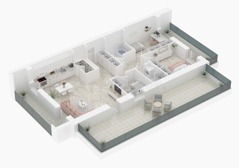 Σχέδιο ορόφων μιας εγχώριας τοπ άποψης Ανοικτό σχεδιάγραμμα διαμερισμάτων διαβίωσης έννοιας διανυσματική απεικόνιση